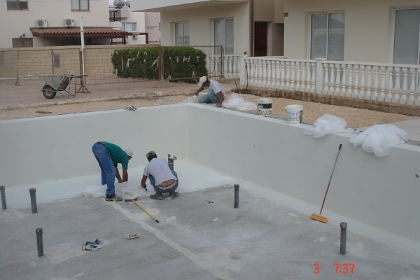 Paphos construction swimming pool construction step by for Pool installation cost