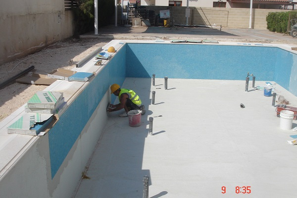 Paphos construction swimming pool construction step by for Swimming pool installation cost
